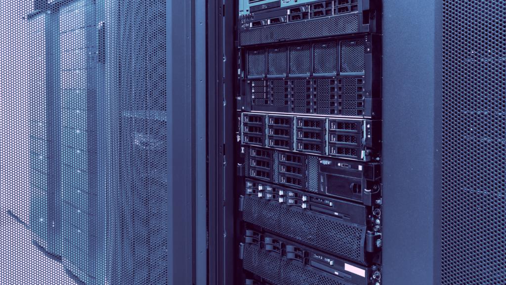 Storage arrays in rack.